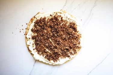 Cinnamon streusel generously sprinkled over the mascarpone topping.