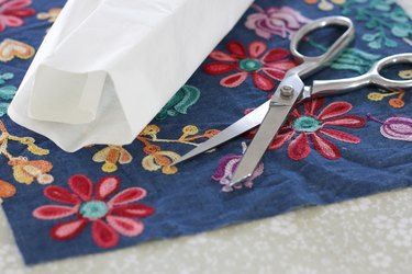 cut fabric and iron-on adhesive