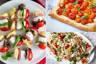 Skewers, a tart, and salad.