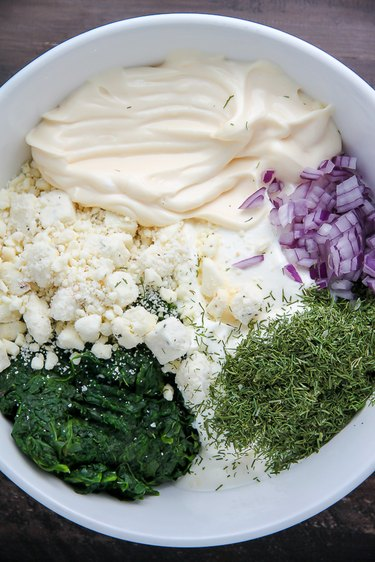 In a bowl combine the first 8 ingredients.