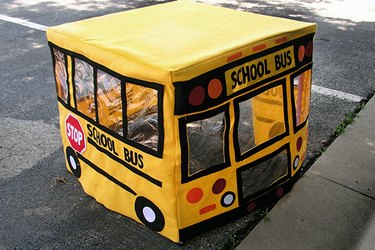 Rear view of the school bus playhouse.
