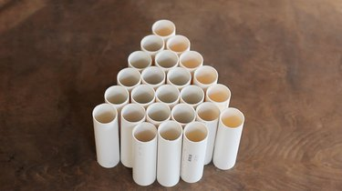 24 PVC pipes arranged in tree formation