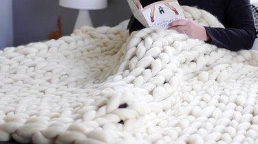 Finished hand knit blanket