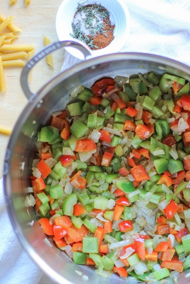 saucepan with sauteed vegetables
