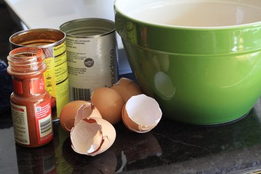 Wet ingredients for chile relleno casserole
