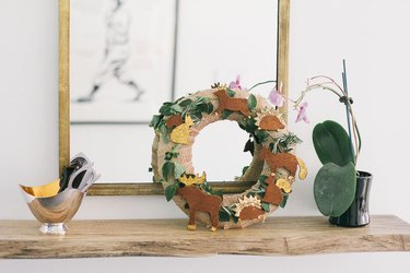Ornaments adorning decorative wreath