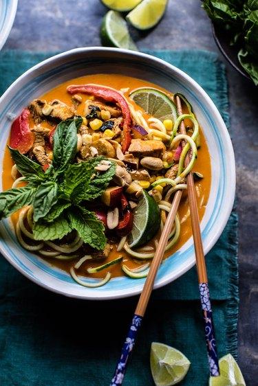 Chicken zucchini noodle bowl.
