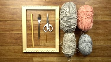 Simple weaving tools and materials.