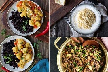 Vegetarian curry, fettuccine alfredo