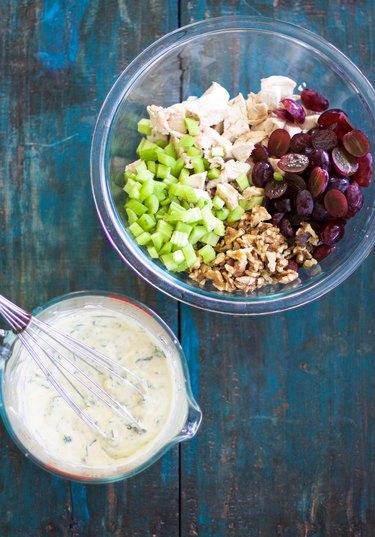 Mixing the Waldorf Chicken Salad