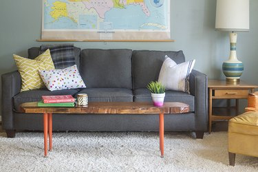 Live edge coffee table in living room