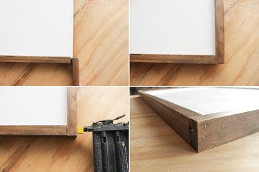 Attaching stained boards to plywood