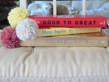 Yarn pompom bookmarks.