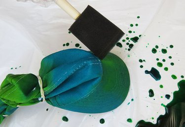 Smooth dye with foam brush.