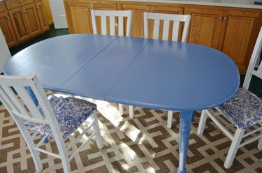 kitchen table with coat of new paint