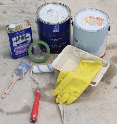 Supplies for painting an interior door.