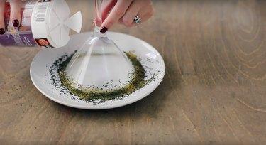 coating martini glass rim with black sugar