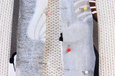Hairband pinned under edge of strip