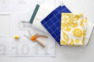 Materials needed to sew a fabric basket