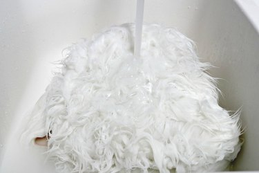 how to clean a faux sheepskin rug
