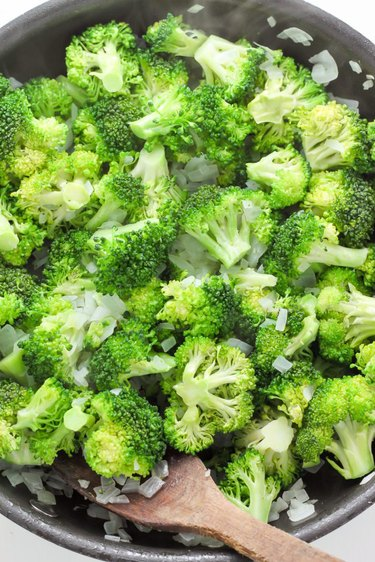 Cooked broccoli and onion