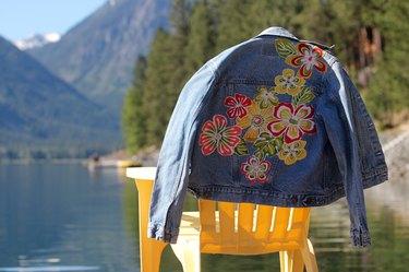 finished floral jean jacket