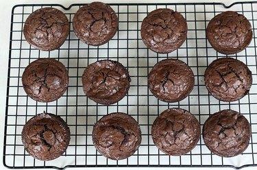 Brownies baked in a cupcake pan