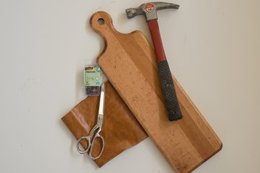 Supplies for Upcycling a Cutting Board Into a Rustic Mail Organizer