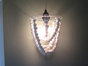 DIY beaded chandelier that is turned on