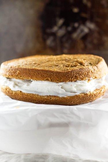 Cake with ice cream layer