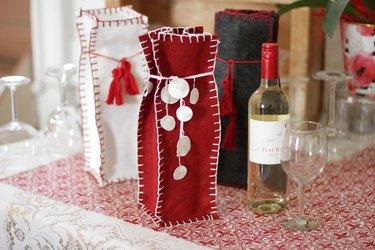 Hand-Sewn Felt Gift Bag for Wine