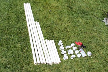 Supplies with cut PVC.