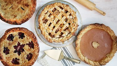 Four pies decorated with all of the techniques below