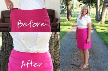 before and after altered skirt