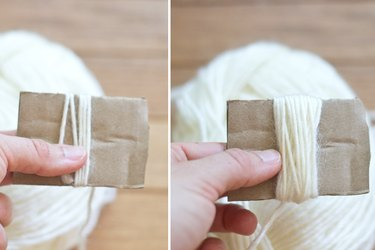 Wrap the cotton crochet thread around the cardboard template.