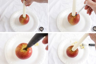 Coring apple to fit small taper candle