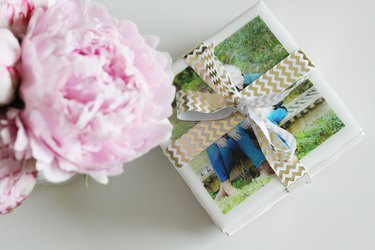 DIY coasters wrapped up as a gift