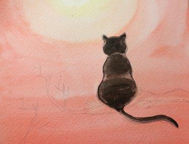 Paint cat an even darker black.