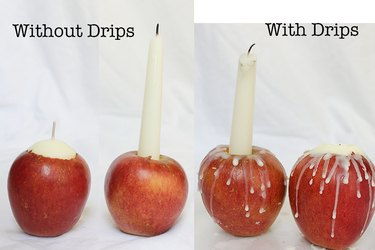 Side by side comparison of apple candles with and without drips.
