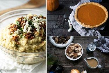 mashed potatoes, pumpkin pie, gravy