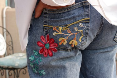 finished embroidered jeans