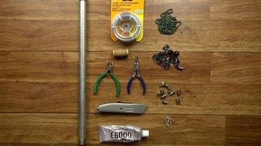 Materials for DIY glass beaded garden sparkler.