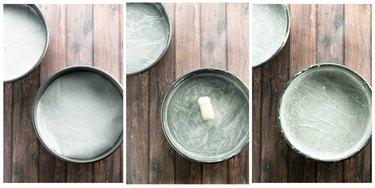Prepared cake pans