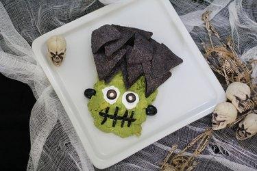 Guacamole shaped like Frankenstein's face