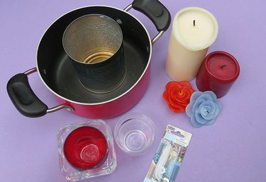 Supplies for melting old candles into new candles.