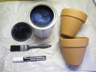 The items that you will need to create chalkboard terra-cotta pots