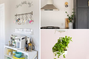 A coffee bar, a wall sconce, and an herb garden.