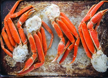Crab legs baked in the oven.