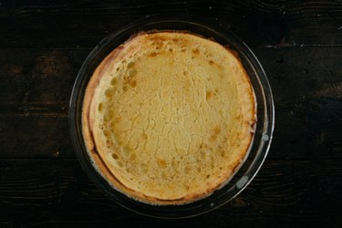 The Dutch Baby will be golden brown and puffy when it it ready.