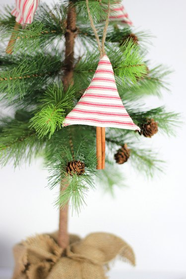 Finished cinnamon scented fabric tree ornaments